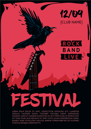 riff: Raven with guitar. Poster template for club, festival, concert and rock party. Grunge style. Illustration