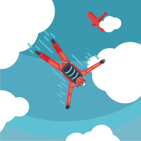 Parachute jump. Sky diver top view. Cartoon vector illustration
