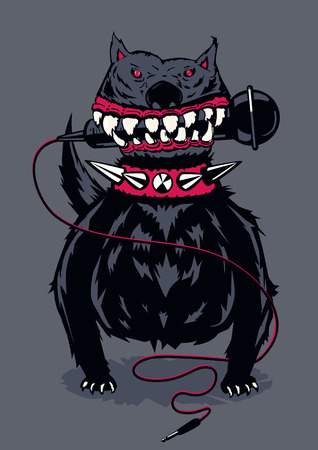 Dog with a microphone. Poster template for club, festival, concert and rock party. Illustration