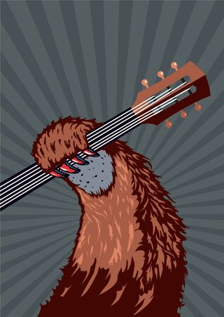 riff: Music poster background for concert, festivals and party. Animal holding guitar. Illustration
