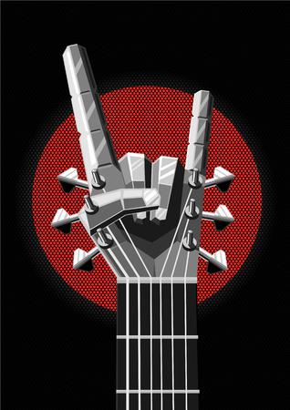 Heavy metal illustratie met gitaar en hand. Rock and roll teken