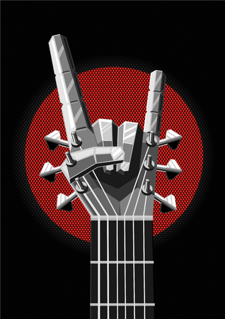 Heavy metal illustration with guitar and hand. Rock and roll sign