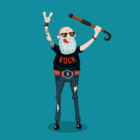 illustratie van het beeldverhaal met een senior man. Oude rock fan. Cartoon stijl.