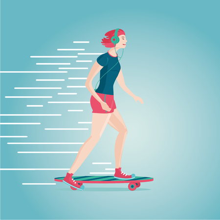 Flat style cartoon illustartion. Girl with skateboard.