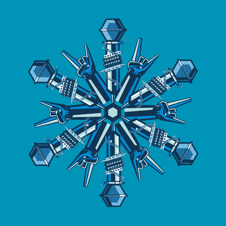 Snowflake constructed from musical equipment. Decoration for Christmas party.