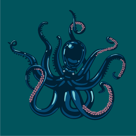 Vector illustration of a colored octopus. Tattoo style.