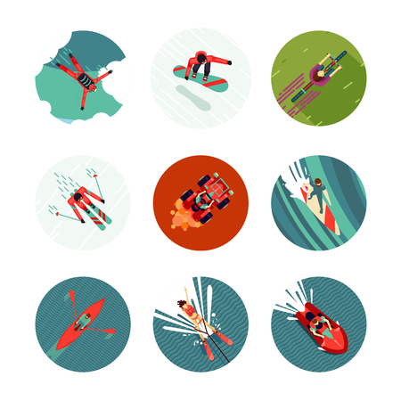Top view of a sport people. Seasons recreation and activity. Flat style icons