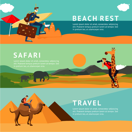 People on summer vacation. Horizontal banners with cartoon illustrations. Illustration