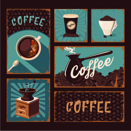 coffeecup: Coffee backgrounds vintage set. Retro posters collection with grunge texture.