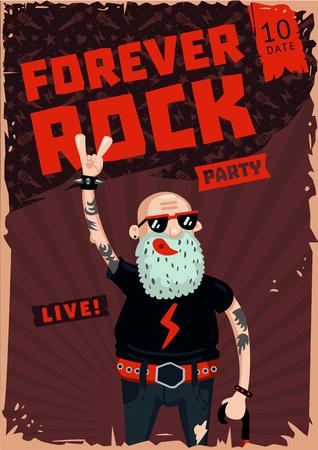 Vintage poster with senior man. Heavy metal illustration