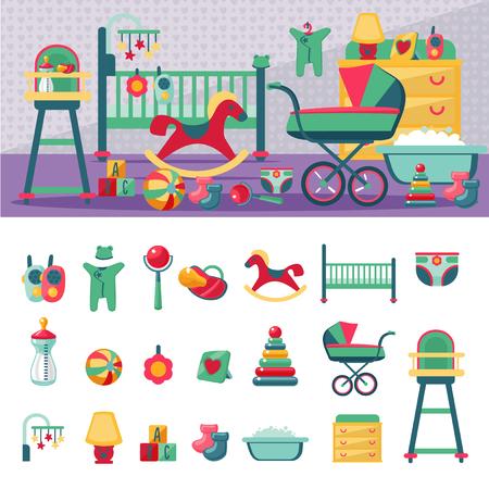 Pasgeboren kamer sjabloon constructeur en pictogram set. Platte stijl. Stock Illustratie