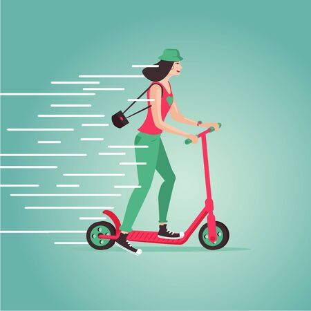 Hipster girl riding a scooter. Cartoon vector illustartion. Flat style. Side view. Stock Photo