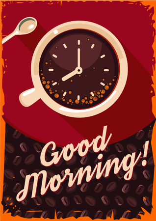coffeecup: Retro poster with coffee cup and clock.