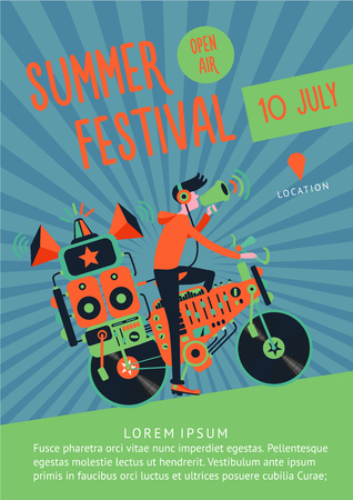 Summer festival music poster template with dj and bike.