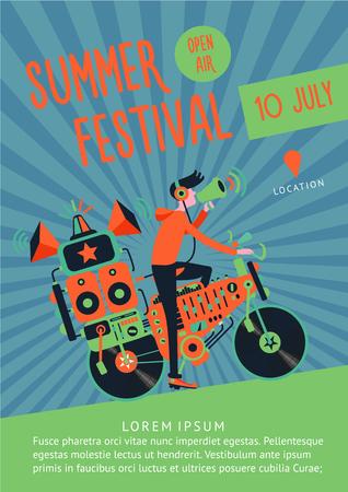 Zomerfestival muziek poster sjabloon met dj en fiets. Stock Illustratie