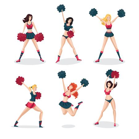 Meisje cheerleaders geïsoleerd op witte set. Mensen cartoon karakter. Sport icoon.