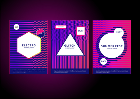 Dance fest. Electronic music poster. Abstract lines with gradients. Club party flyer design.