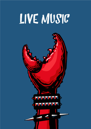 metall: Rock music fan hand. Poster with crab claw. Heavy metall. Tattoo style. Stock Photo