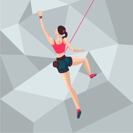 Sport girl on a climbing wall. Cartoon character illustration. Back view.