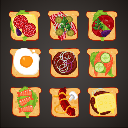 Top view of sandwiches with differents topping. Fast food isolated icon collection. Flat style