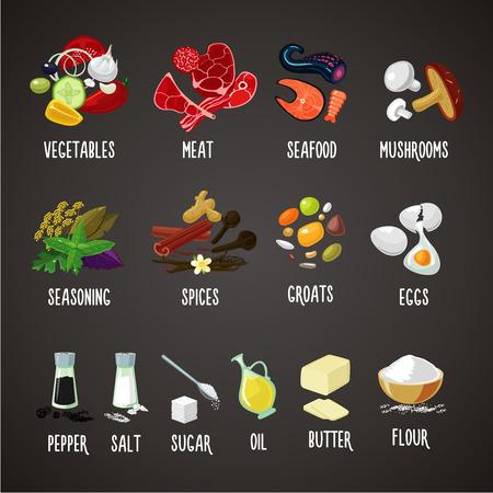 Vlees, groenten, kruiden, specerijen en granen. Kokende ingrediënten geïsoleerde geplaatste kleurenpictogrammen. Realistische voedsel vectorillustratie Stock Illustratie