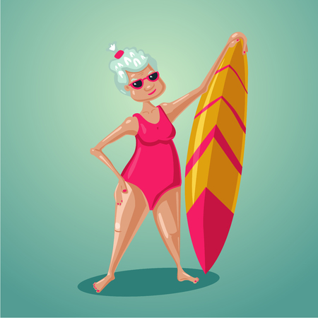 Elderly retired woman with surfboard on vacation. Active old lady. Illustration