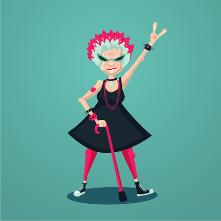 Cartoon character. Forever young old lady. Funny old rock fan. Active senior woman. Humorous illustration.