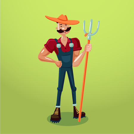 Farmer with a pitchfork. Isolated cartoon character. Country worker.