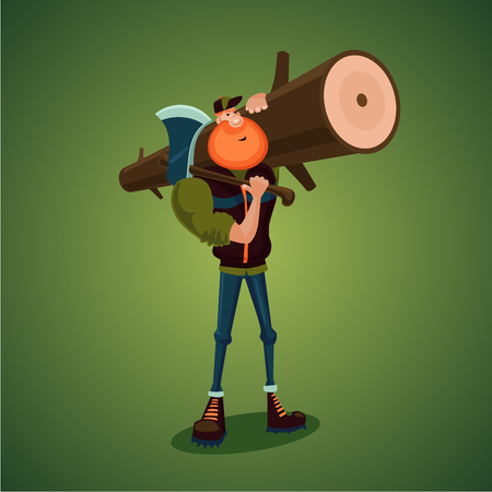 Strong lumberjack carries axe and big log. Isolated 3d cartoon character.