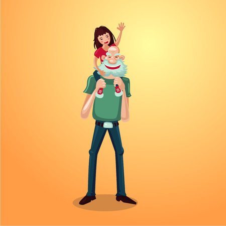 the grand daughter: Strong grandfather with granddaughter on shoulders. Active senior cartoon character.