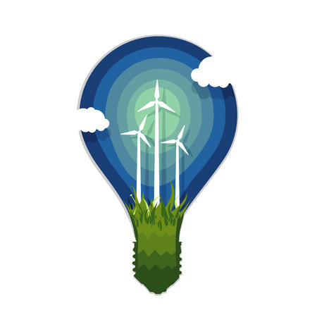Silhouette of lamp with wind power generation icon. Illustration