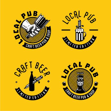 Retro style emblem for craft beer. Illustration