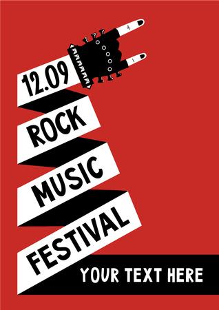 Rock and roll festival. Muziek poster sjabloon.