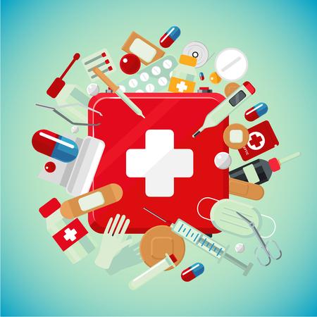 Medische apparatuur en drugs. Geneeskunde banner met eerste hulp kit. Stock Illustratie