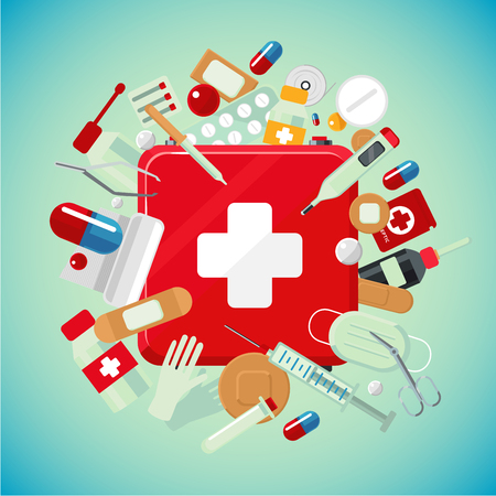 Medical equipment and drugs. Medicine banner with first aid kit. Illustration