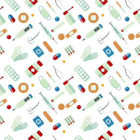 Medical seamless pattern with drugs. Medicine texture. Illustration