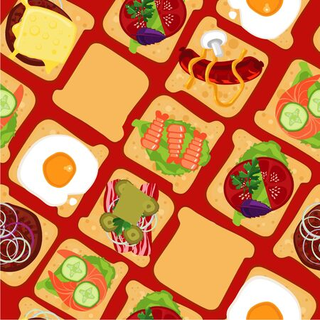 Seamless pattern with sandwiches. Fast food. Top view.