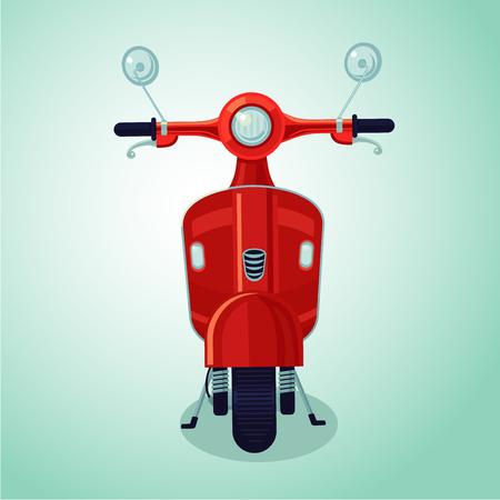 Red vintage moto scooter. Isolated cartoon illustration Illustration