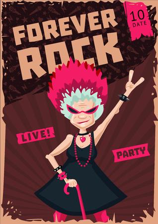 Music poster template. Active senior woman. Humorous illustration Illustration