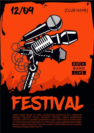 Muziekfestival. Poster sjabloon. Rock feest.