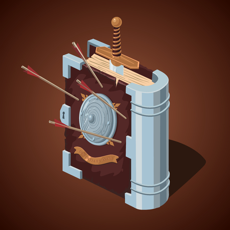 Game design concept. Magic battle book. Cartoon style. Old tome with antique weapons.