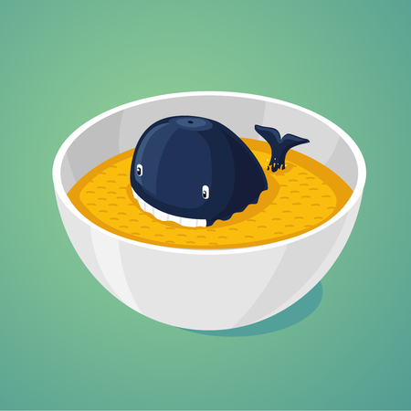 Blue whale in the plate of food. Large portion. Cartoon illustration