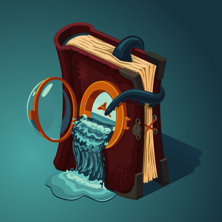 Magic travel book cartoon style game design concept diary of ocean voyages.