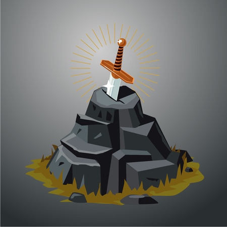 Excalibur. Vector illustration. Legendary sword in stone. Game design concept