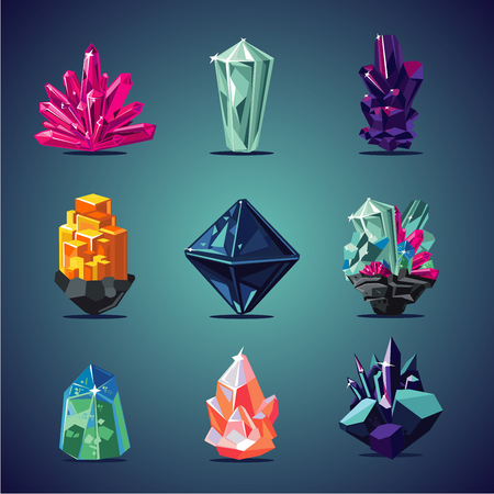 Crystal isolated icons set. Magic stones collection. Vettoriali