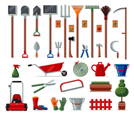 Vector colored icons colection isolated on white. Garden tools big set. Flat style. Illustration