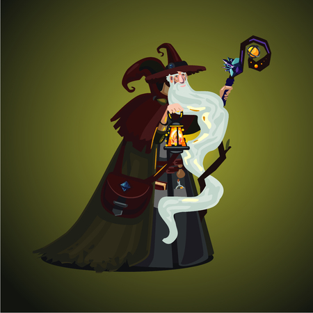 Long bearded magician with magic lamp and wand. Cartoon character. Game design concept.
