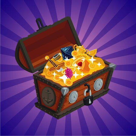 Treasure chest with gold. Game design element, cartoon style. Stock Photo