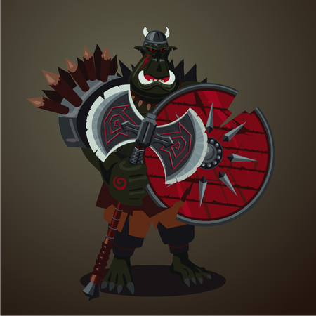 Big green angry orc with weapons. Warrior goblin. Game design character concept.