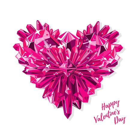 Purple heart with crystals. Greeting card for Valentine s day. Realistic vector isolated on white. Stock Photo